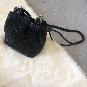 Vintage CEM leather wove bucket bag black/brown